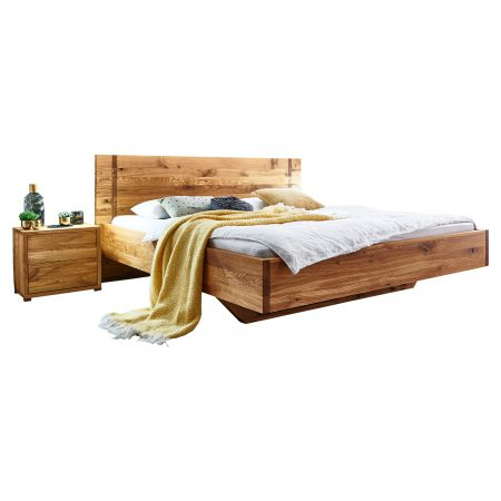 Wildeichenbett Drevo mit Nachttisch